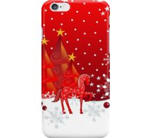 Christmas snow world with trees, snowflakes and a cute decorative horse iPhone Case/Skin