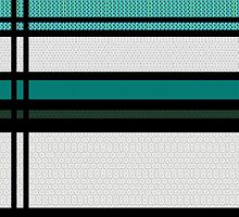 TEAL, BLACK & WHITE GEOMETRIC LACE PATTERN by ackelly4