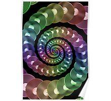Vinyl LP Record Vortex - Metallic Rainbow Spiral Poster
