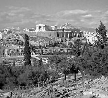 Athenian Acropolis from Philopappou Hill, 1960, B&W by Priscilla Turner