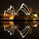 Sydney Opera House at night with reflection by Sheila  Smart