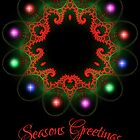 Fractal Wreath Holiday Greeting Card by christopher r peters