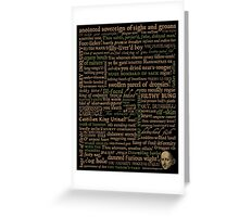 Shakespeare Insults T-shirt - Revised Edition (by incognita) Greeting Card