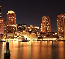 Boston Harbor Cityscape at Night by Roupen  Baker