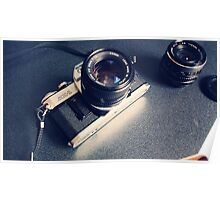 Vintage Camera with Lens Poster