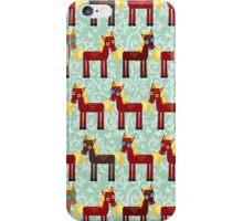 Brown horse on blue floral background iPhone Case/Skin