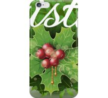 Holly Leaves Circle and Merry Christmas Calligraphic Text iPhone Case/Skin