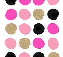 Finley - Abstract brushy dots pattern in pink, gold, black  by charlottewinter