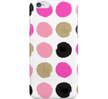Finley - Abstract brushy dots pattern in pink, gold, black  iPhone Case/Skin