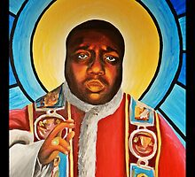 Notorious B.I.G Pope Biggie Stain Glass Window by helarney