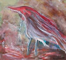 Abstract Red Bird by pennyfstudio