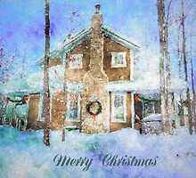 Merry Christmas House with Wreath by ClaireBull