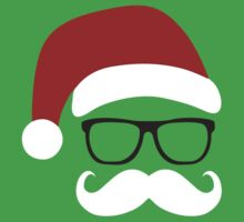 Funny Santa Claus with nerd glasses and mustache by badbugs
