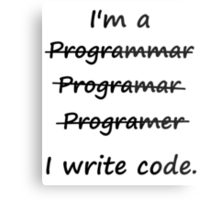 I'm a Programmer I Write Code Bad Speller Metal Print