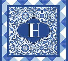 Letter H Monogram in Indigo Patterns by Greenbaby