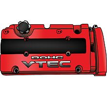 Honda H22 Valve Cover - Red Photographic Print