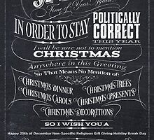 Sarcastic Politically Correct Black Chalkboard Christmas Card - I by 26-Characters