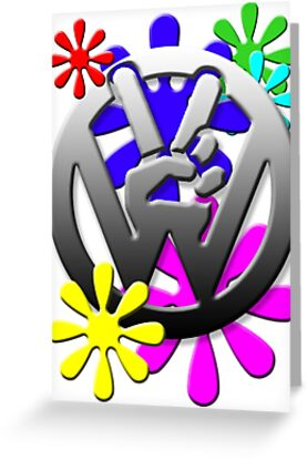 VW Peace hand sign with flowers by thatstickerguy