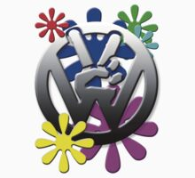 VW Peace hand sign with flowers Kids Clothes