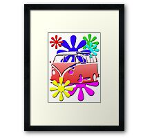 VW BUS with hippie flowers RED version Framed Print