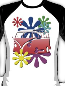VW BUS with hippie flowers RED version T-Shirt