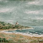 Bay with Lighthouse by Raymond  Hedley