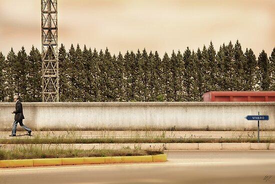 Red Steel Blue Denim by Paul Vanzella