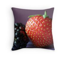 Strawberry and blackberries Throw Pillow
