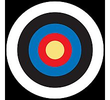 Bulls Eye, Right on Target, Roundel, Archery, Pop, Mod, on BLACK Photographic Print