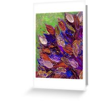 BLOOMING BEAUTIFUL 2 Bold Colorful Orange Purple Green Textural Abstract Acrylic Painting Floral Impasto Garden Flowers Greeting Card