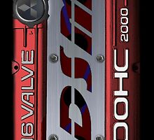 4g63 MITSUBISHI Valve Cover -Samsung -Red/White - Steven by Hector Flores