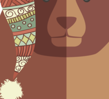 Bear ugly winter Aztec hat Christmas holiday Sticker
