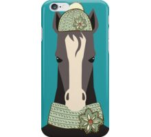 Funny serious horse winter knit hat scarf iPhone Case/Skin