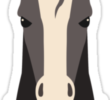 Funny serious horse winter knit hat scarf Sticker