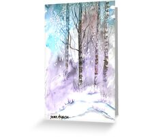Winter landscape watercolor painting poster print Greeting Card