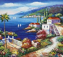 Blooming Mediterranean II Oil Paintings by LesMoments Oil Painting