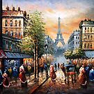 Evening View Of The Eiffel Oil Painting by LesMoments Oil Painting