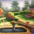 Garden Behind Autumn&#x27;s Gate Oil Painting by LesMoments Oil Painting