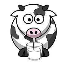 Cow Drinking Milk Photographic Print