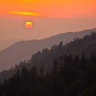 A Smoky Mountain Sunset 7:44pm by Tony  Bazidlo