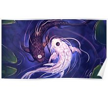 Koi-Fish Swimming In A Pond Poster