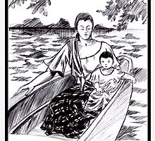 mother in child in the boat by oskeepops