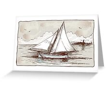 Vintage Sailing Ship on the Sea Greeting Card