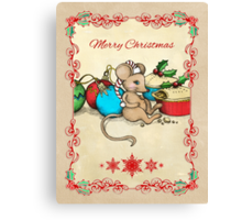 Love, Joy, PIE! Merry Christmas! Cute mouse illustration Canvas Print