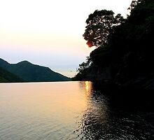 Falling Sun on Natural Pool - Hong Kong. by Tiffany Lenoir