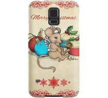 Love, Joy, PIE! Merry Christmas! Cute mouse illustration Samsung Galaxy Case/Skin