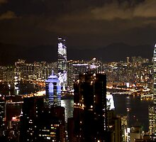 Night on the City II - Hong Kong. by Tiffany Lenoir