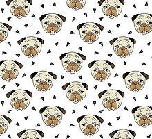 Pugs - White background by Andrea Lauren by Andrea Lauren