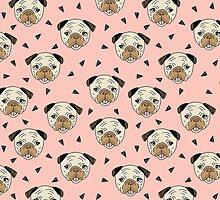 Pugs - Pink Background by Andrea Lauren by Andrea Lauren