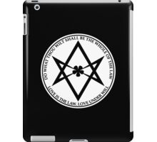 Aleister Crowley - DO WHAT THOU WILT SHALL BE THE WHOLE OF THE LAW - Occult - Thelema (White On Black) iPad Case/Skin
